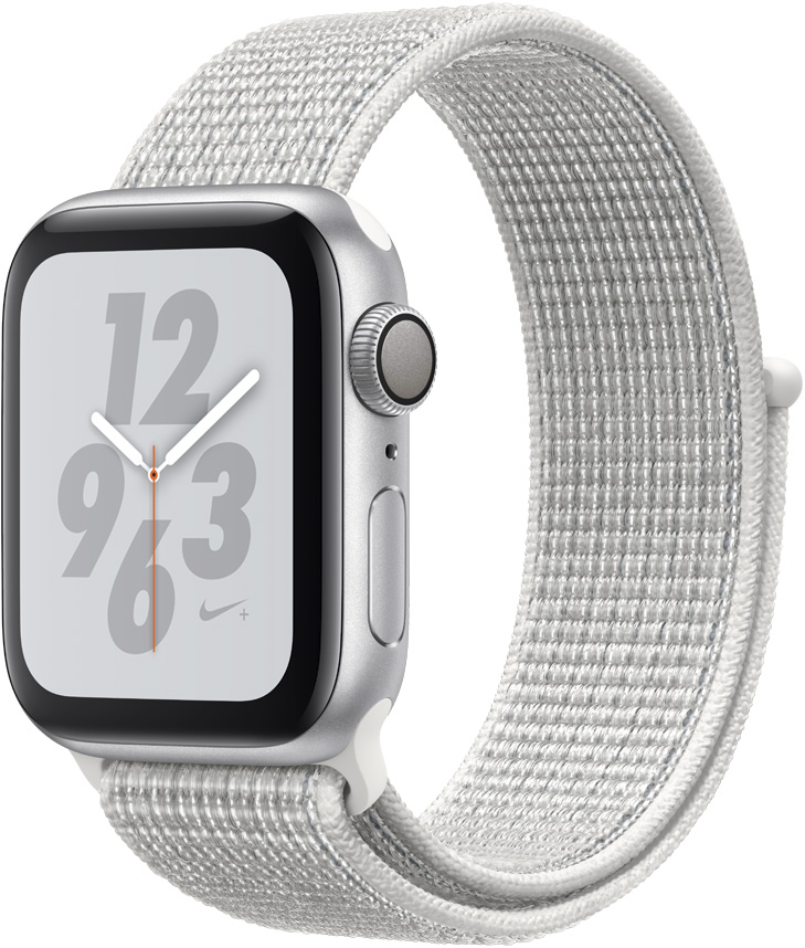 Часы Apple Watch Nike+ Series 4 40 мм корпус из алюминия серебряный+спортивный ремешок Nike белый нейлоновый (MU7F2RU/A) цена
