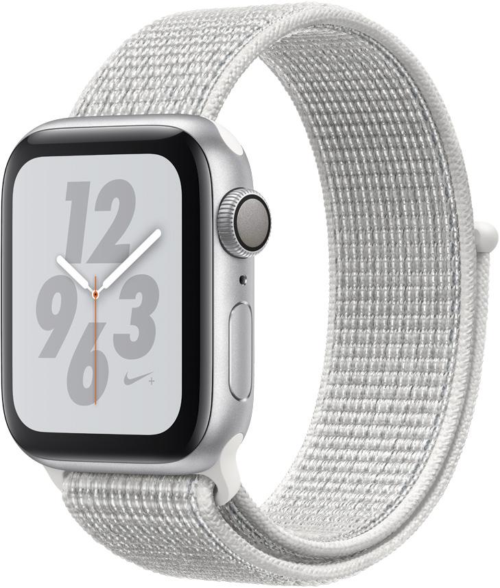 цены Часы Apple Watch Nike+ Series 4 40 мм серебряный + ремешок Nike белый нейлоновый (MU7F2RU/A)