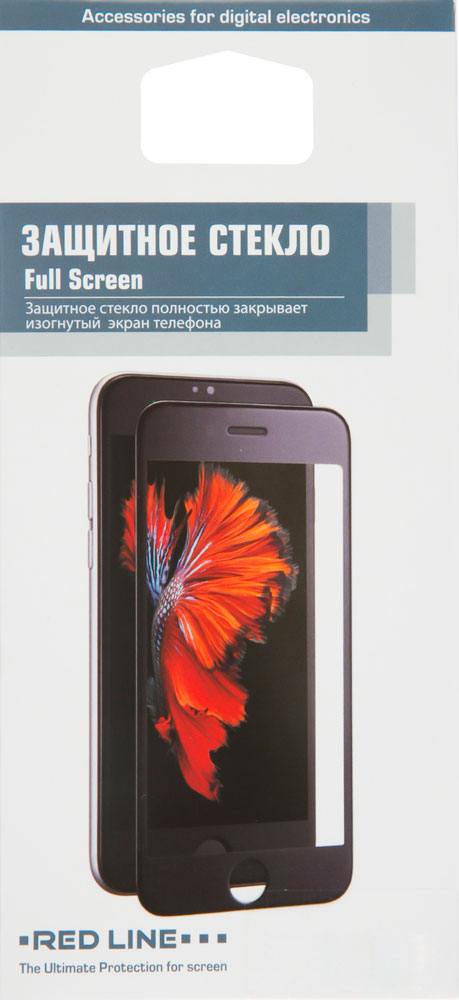 Стекло защитное RedLine для iPhone 7/8 3D Full Screen черная рамка прозрачное цена 2017