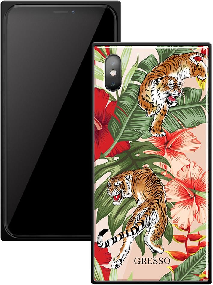 Клип-кейс Gresso Glass Apple iPhone X прямоугольный тигр клип кейс gresso glass edge для apple iphone xs тессера