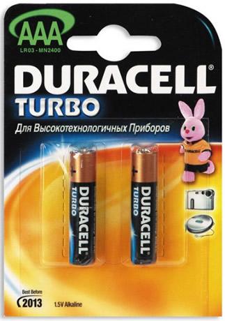 Батарея Duracell AAA LR03 Turbo (BL2) батарейка aaa duracell turbo max lr03 mn2400 mx2400 2 штуки