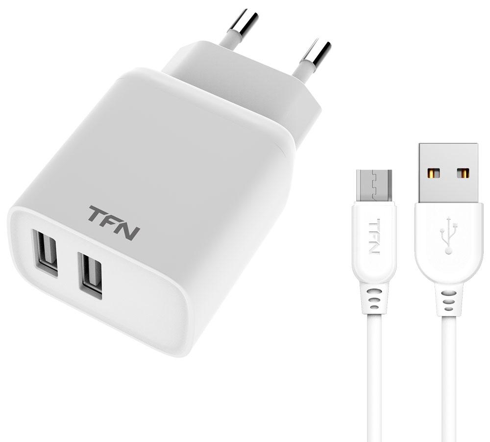 СЗУ TFN 2USB Rapid+кабель MicroUSB 2.4А White фото