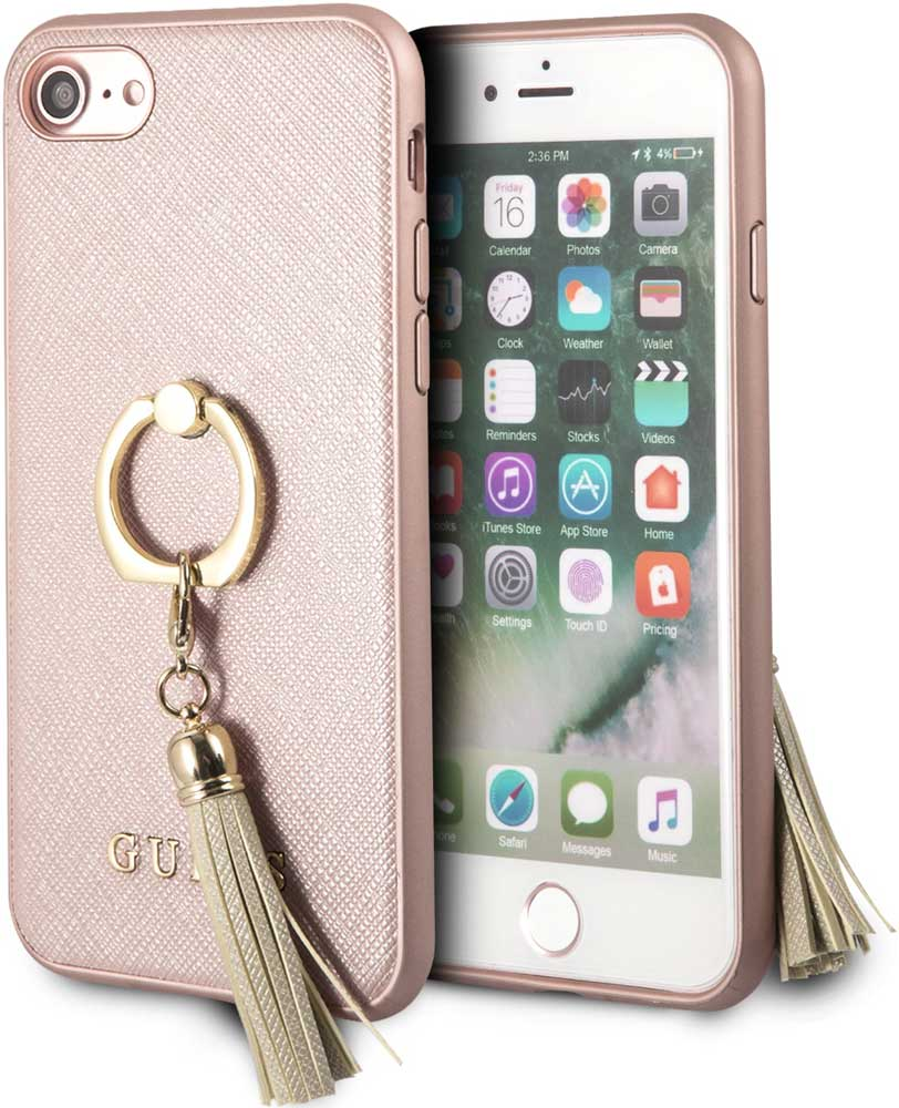 Клип-кейс Guess Apple iPhone 8 с кольцом Pink клип кейс guess flower desire для apple iphone xs трехцветная роза