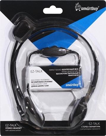Гарнитура Smartbuy EZ-TALK с регулятором громкости Black цена