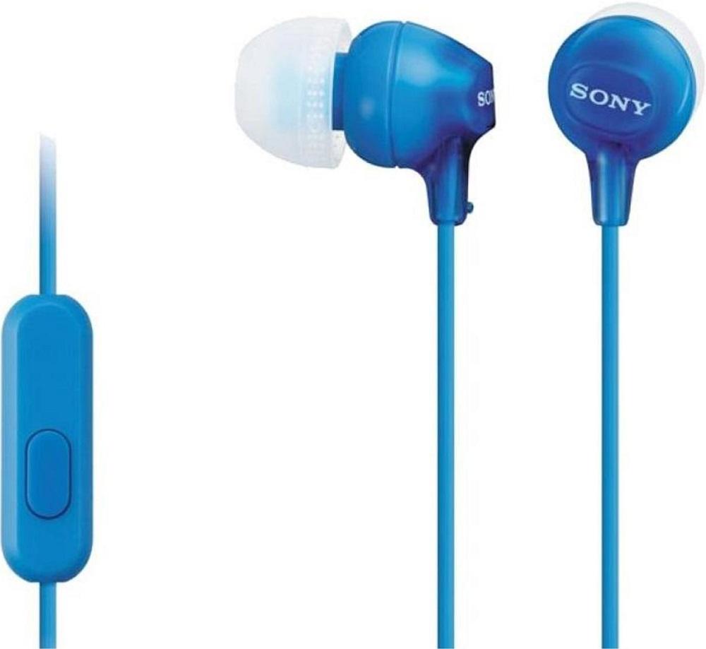 Наушники с микрофоном Sony MDR-EX15AP Blue гарнитура sony mdr ex15ap violet