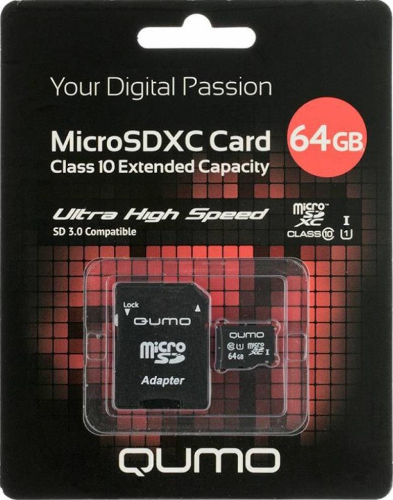 Карта памяти MicroSDXC Qumo 64Gb Class 10 с адаптером Black