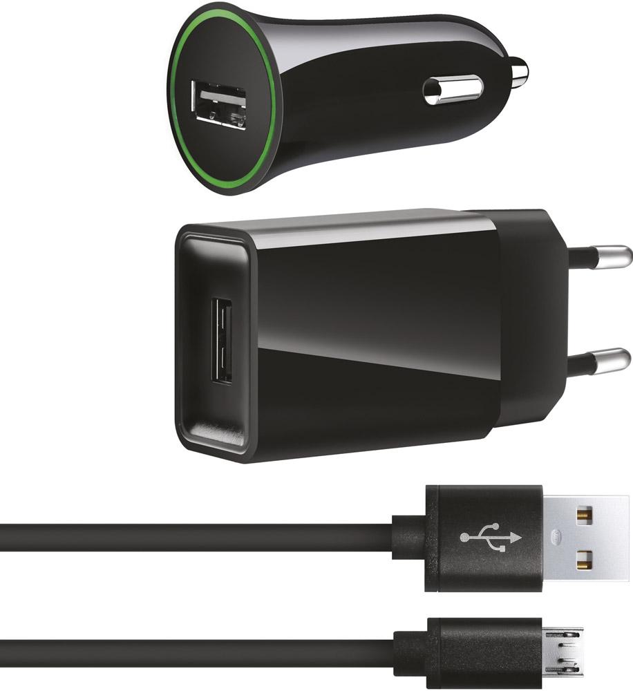 Набор W.O.L.T. WCK-01 АЗУ + СЗУ + дата-кабель USB-microUSB Black цена