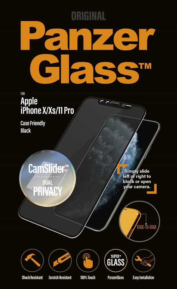 Стекло защитное PanzerGlass iPhone 11 Pro CamSlider Privacy черная рамка фото