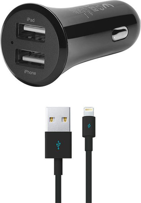 Фото - АЗУ Ttec QuantumDuo 2USB+дата-кабель Lightning MFI Black кабель