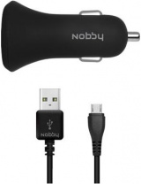 фото АЗУ Nobby Comfort 008-001 2 USB 2.4A Soft Touch + дата-кабель microUSB Black