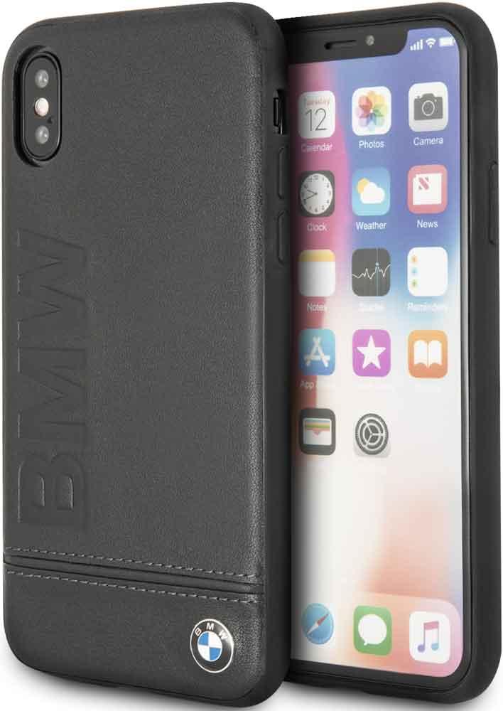 Клип-кейс BMW iPhone XS кожа Black клип кейс bmw iphone xs max силикон black