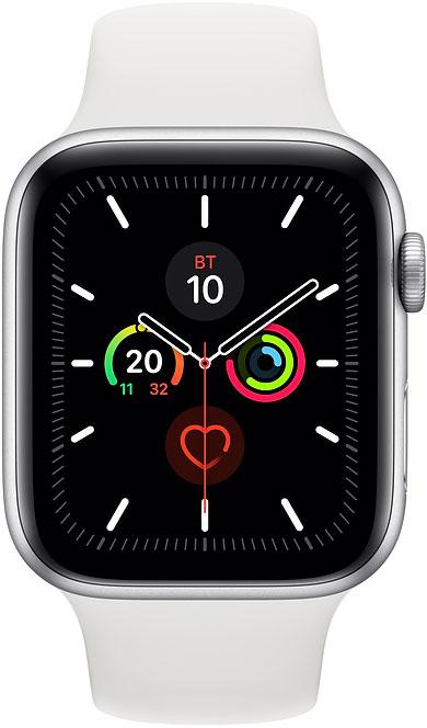 Часы Apple Watch Series 5 44мм серебристого цвета+спортивный ремешок белый фото