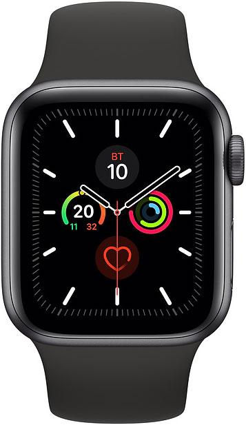 Часы Apple Watch Series 5 40мм серый космос+спортивный ремешок чёрный фото