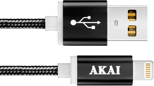 Дата-кабель Akai CE-604B USB 2.0 - 8-pin Apple Lighting Black akai usb – apple lighting gray