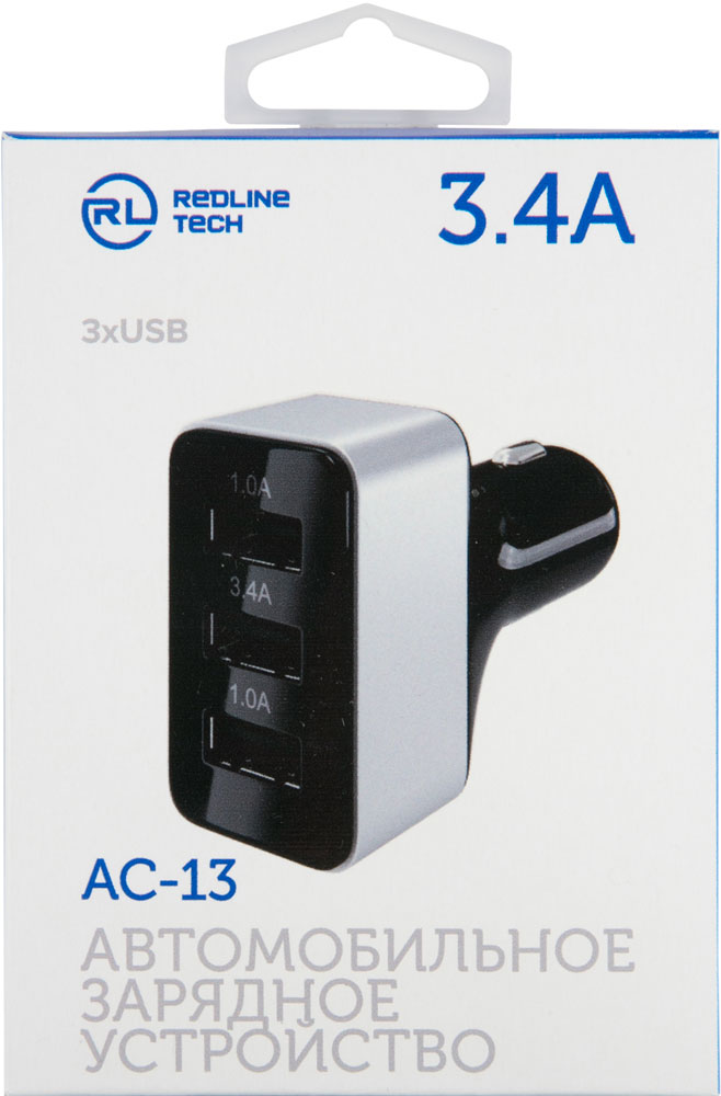 АЗУ RedLine АС-132 2 USB 3.4A универсальное Black азу belkin универсальное usb 2 4а f8j054bt blk black