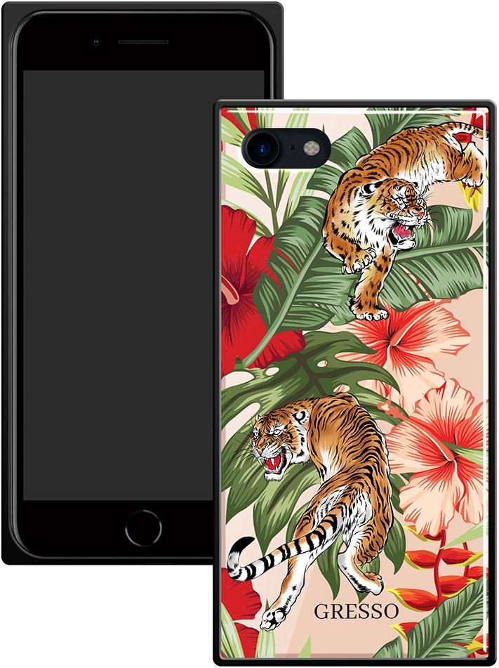 Клип-кейс Gresso Glass Apple iPhone 8/7 прямоугольный тигр
