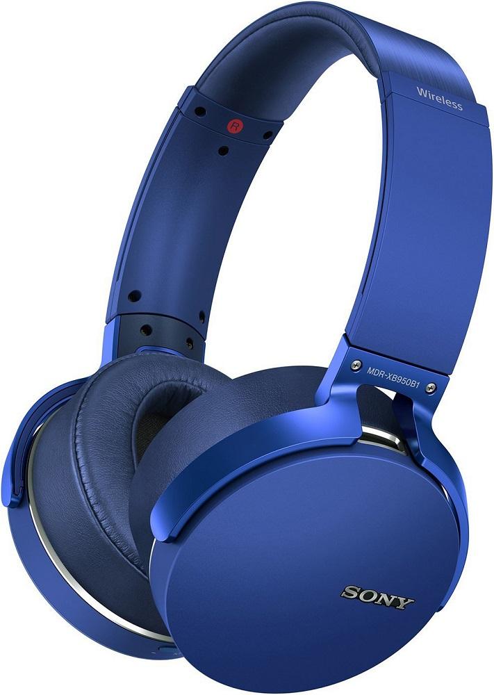 Беспроводные наушники с микрофоном Sony MDR-XB950B1L Blue sony stereo headphones mdr xb21ex red extra bass inner ear headband japan import