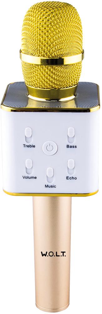 Микрофон-караоке W.O.L.T. K10 беспроводной Gold цена
