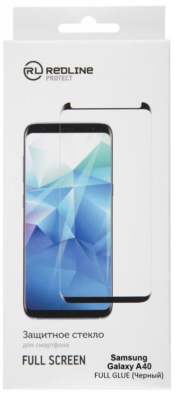 Стекло защитное RedLine Samsung Galaxy A40 Full Screen Full Glue черная рамка фото