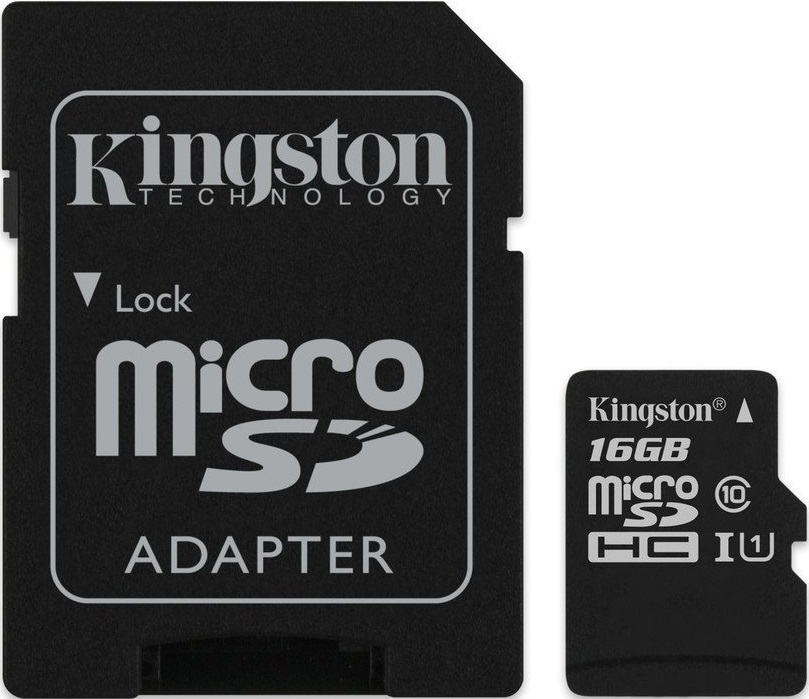 Карта памяти MicroSDHC Kingston 16GB Class10 UHS-I c адаптером SDCS/16GB Black цена