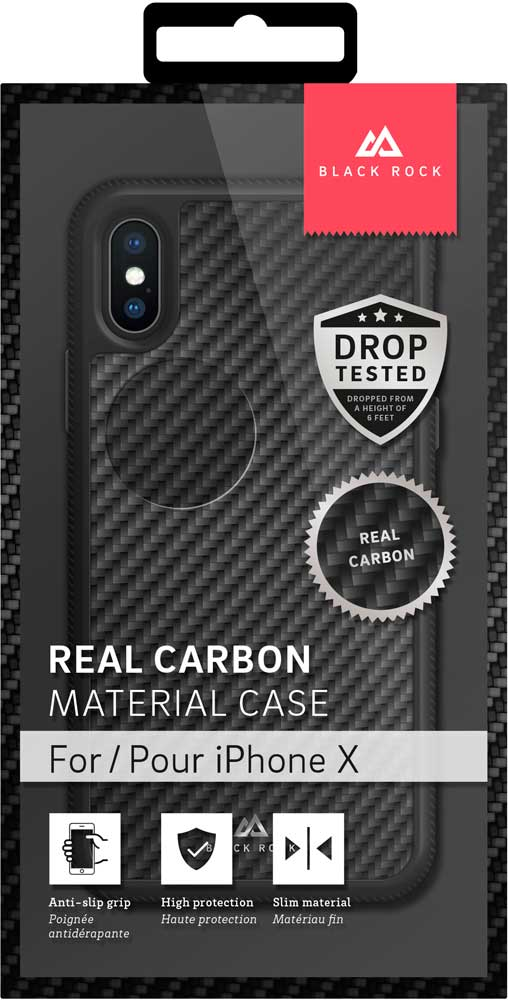 Клип-кейс Black Rock Apple iPhone X real carbon Black