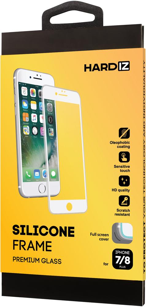 Стекло защитное Hardiz iPhone 8/7 Plus Silicone Frame белая рамка фото