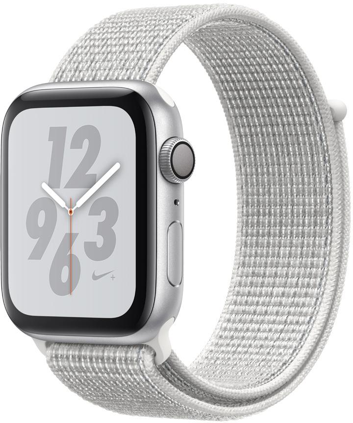 Часы Apple Watch Nike+ Series 4 44 мм корпус из алюминия серебряный+спортивный ремешок Nike белый нейлоновый (MU7H2RU/A) цена