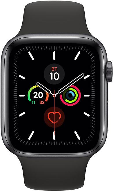 Часы Apple Watch Series 5 44мм серый космос+спортивный ремешок чёрный фото