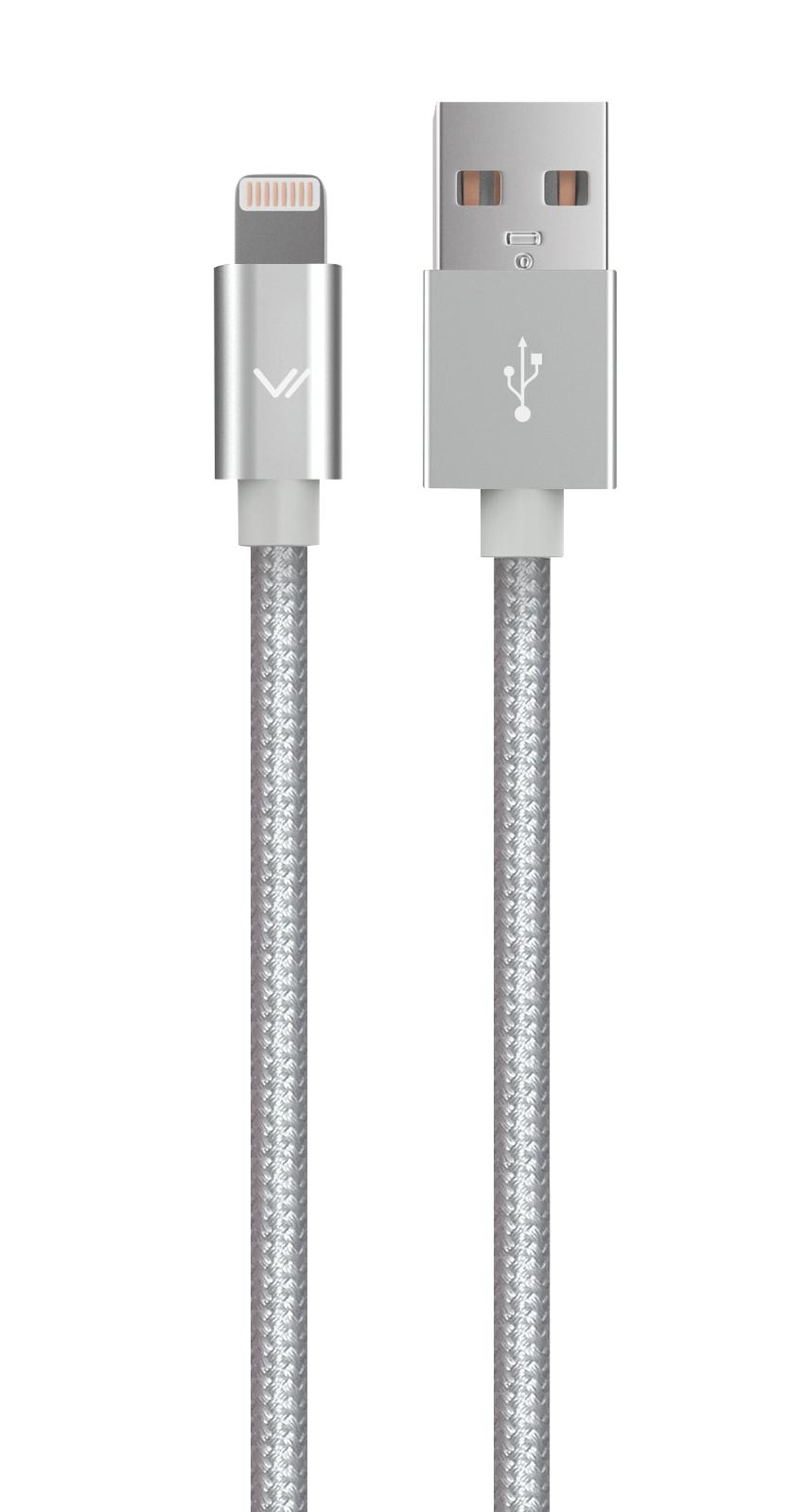 Дата-кабель Vertex для iPhone 6/6S/6Plus и iPhone5/5S/5C/SE MFI текстильный Silver стоимость