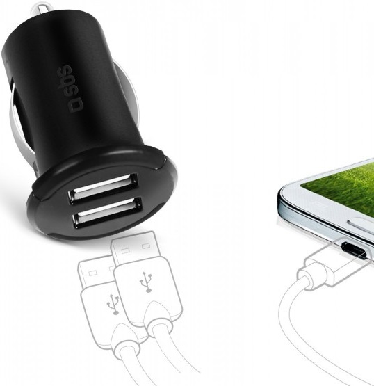 АЗУ SBS 60578 2 USB +Дата-кабель USB-Type-С 2,4А Black romoss азу 2 usb 2 1a 1 0 а au17 101 белый