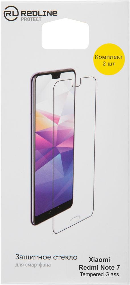 цена на Стекло защитное RedLine Xiaomi Redmi Note 7 прозрачное 2 шт