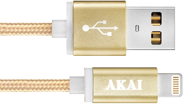 Дата-кабель Akai CE-604B USB 2.0 - 8-pin Apple Lighting Gold фото