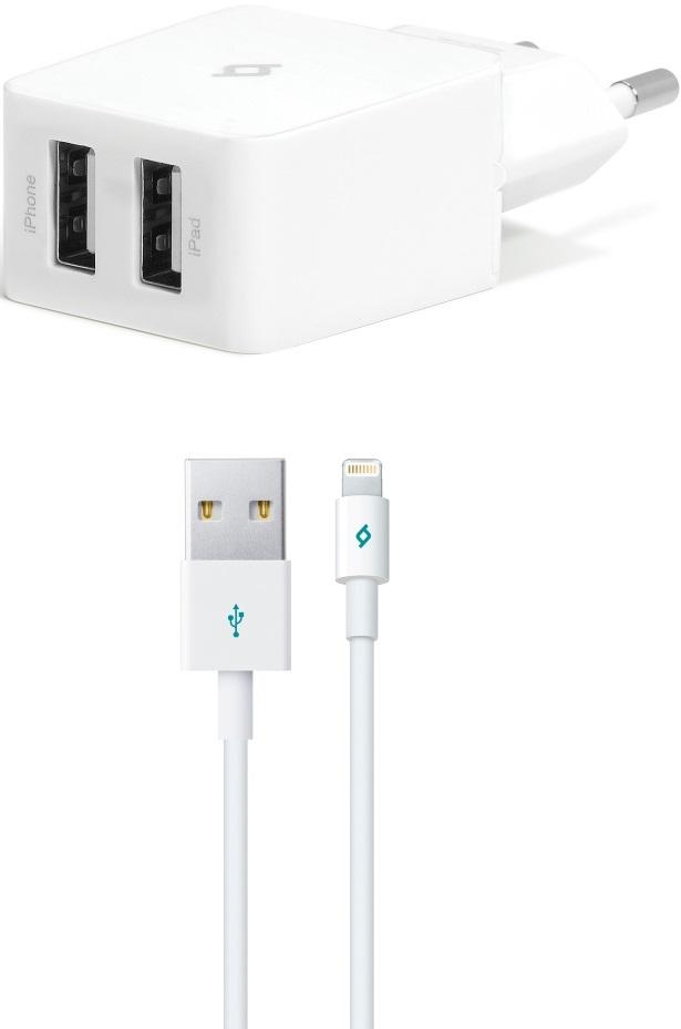 СЗУ Ttec QuantumDuo 2 USB+Lightning MFI-USB 3.4А White аксессуар joyroom mfi braided usb lightning 120cm grey 17865