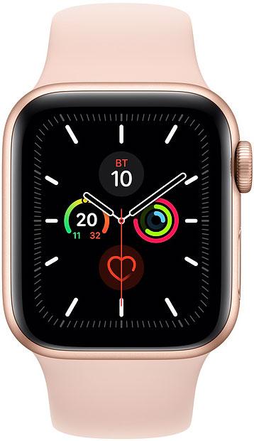 Часы Apple Watch Series 5 40мм золотого цвета+спортивный ремешок розовый песок фото