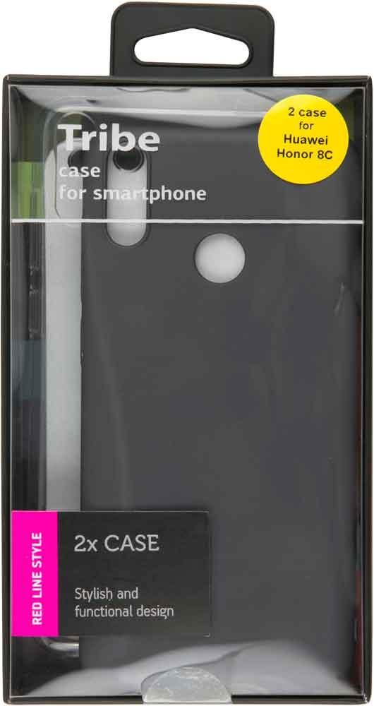Набор чехлов Tribe Honor 8C силикон+пластик прозрачный и черный набор чехлов tribe honor 8c силикон пластик прозрачный и красный