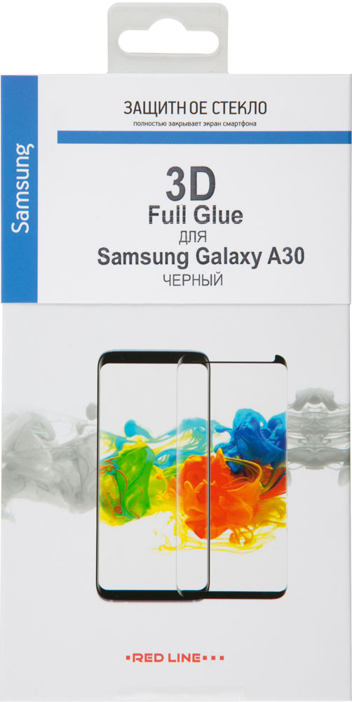 Стекло защитное RedLine Samsung Galaxy A30 3D Full Glue черная рамка стекло защитное rockmax iphone xr 3d черная рамка