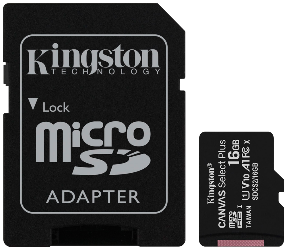 Карта памяти MicroSDHC Kingston Canvas Select Plus 16Gb Class10 с адаптером Black фото
