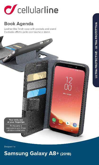 Чехол-книжка Cellularline Samsung Galaxy A8 Plus Black чехол для samsung galaxy a8 cellularline ink полупрозрачный черный