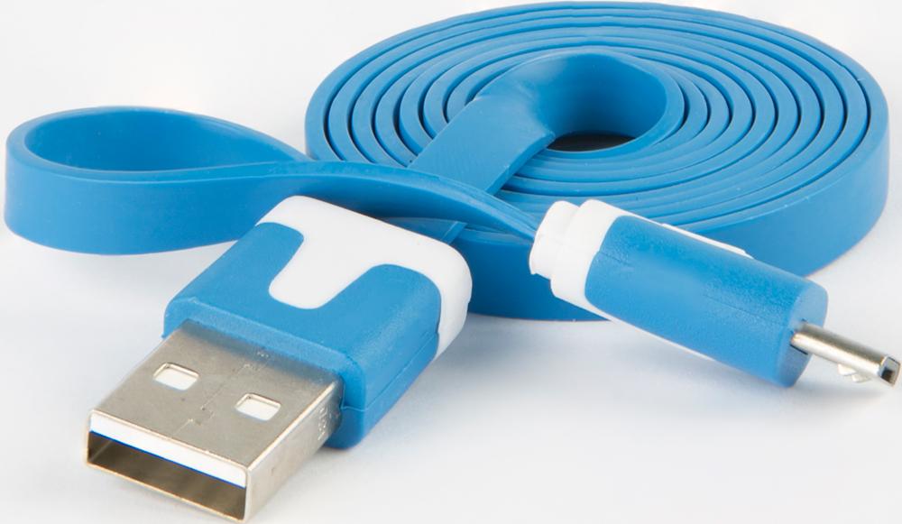 Дата-кабель RedLine USB-microUSB плоский Blue фото