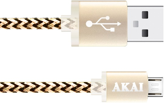 Дата-кабель Akai CE-421Y USB-micro USB Yellow-Black