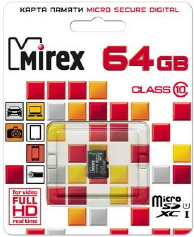 Карта памяти MicroSDHC Mirex 64GB Class10 без адаптера UHS-I black фото