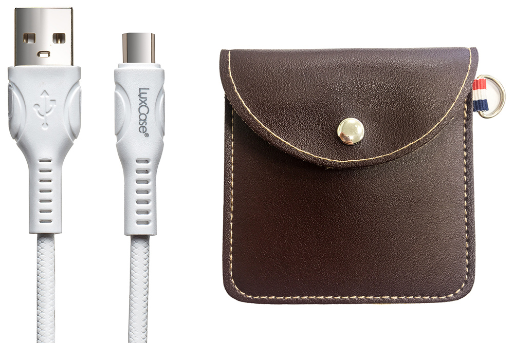 Дата-кабель LuxCase Type-C 2.4А белый+мягкий футляр Brown фото