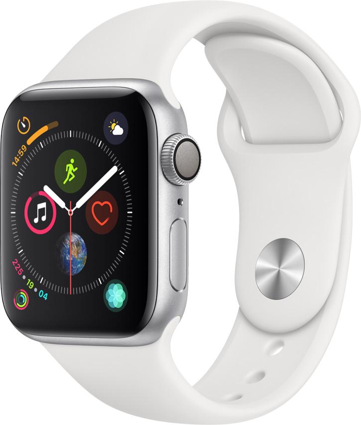 Часы Apple Watch Series 4 40 мм корпус из алюминия серебряный + спортивный ремешок белый (MU642RU/A) умные часы apple watch series 4 44 мм корпус из золотистого алюминия спортивный браслет цвета розовый песок