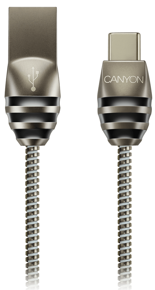 Дата-кабель Canyon CNS-USBC5DG USB-Type-C 1м металлическая оплетка Silver фото
