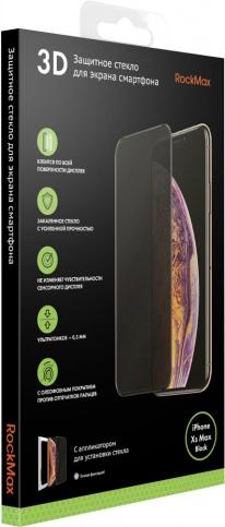 Стекло защитное RockMax iPhone XS Max 3D черная рамка защитное стекло 3d iphone xs max borasco 34981