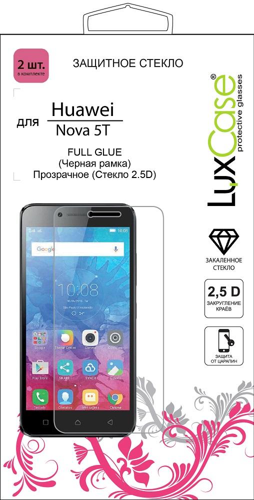 Стекло защитное LuxCase Huawei Nova 5T 2.5D FG черная рамка 2 шт фото