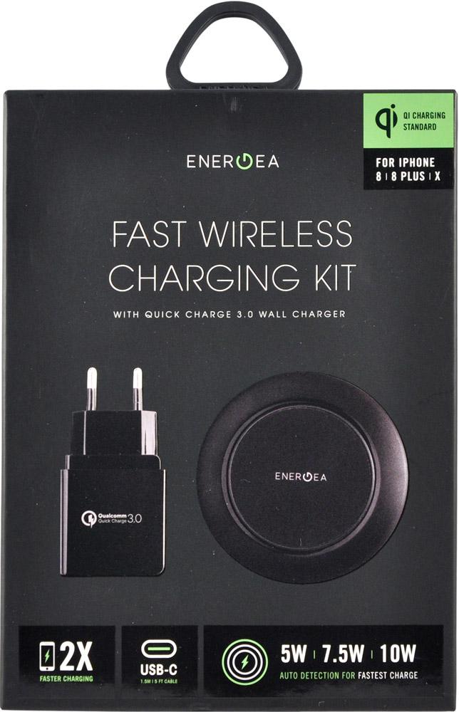 Фото - Беспроводное зарядное устройство Energea Widisk75 kit + СЗУ QC 3.0 + кабель USB-Type-C Black беспроводное зарядное устройство rivacase va4914 wd1 белое 10w сзу