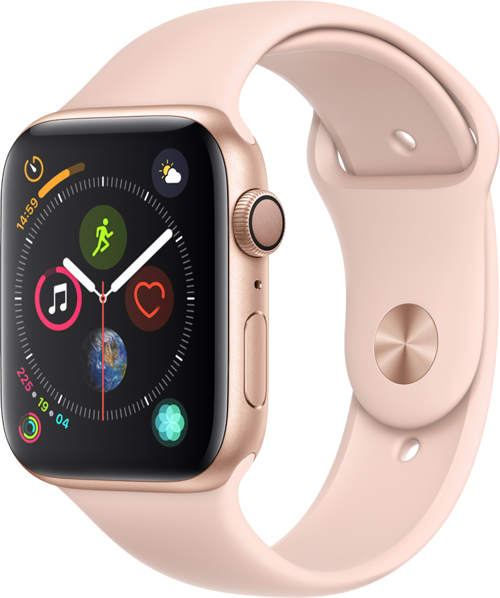 Часы Apple Watch Series 4 40 мм корпус из алюминия золото + спортивный ремешок розовый (MU682RU/A) умные часы apple watch series 4 44 мм корпус из золотистого алюминия спортивный браслет цвета розовый песок