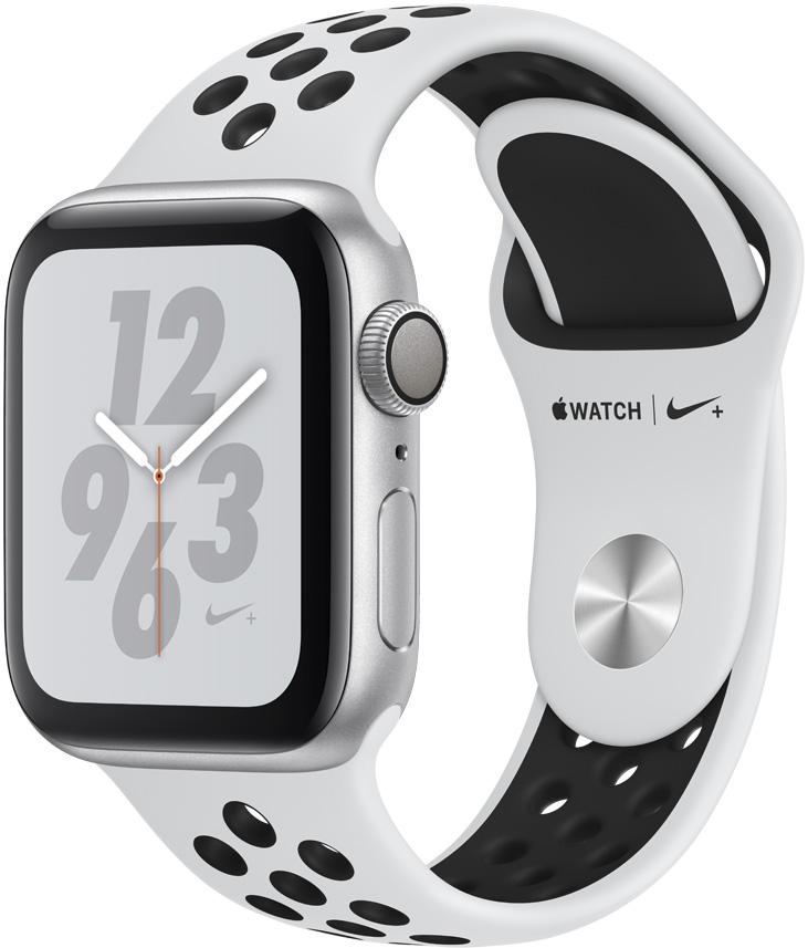 Часы Apple Nike+ Series 4 40 мм корпус из алюминия серебряный + спортивный ремешок Nike платина/черный (MU6H2RU/A) все цены