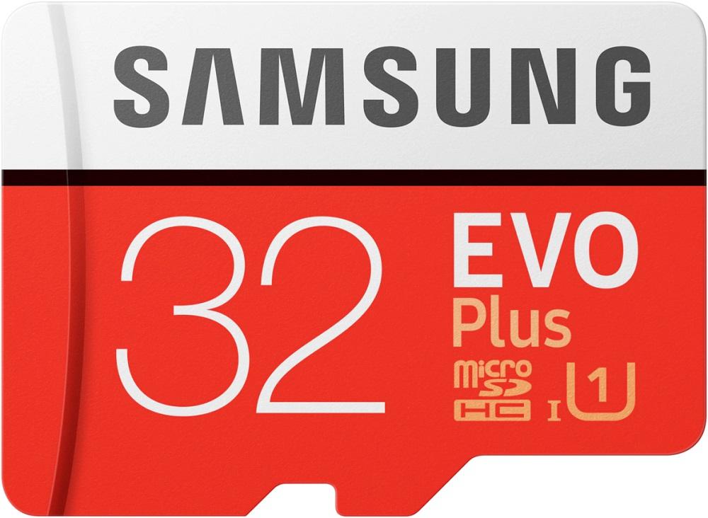 Карта памяти MicroSD Samsung EVO Plus 32Gb Class10 UHS-I с адаптером Red-White фото